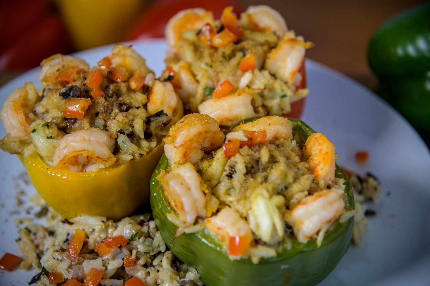 seafood stuffed peppers on plate